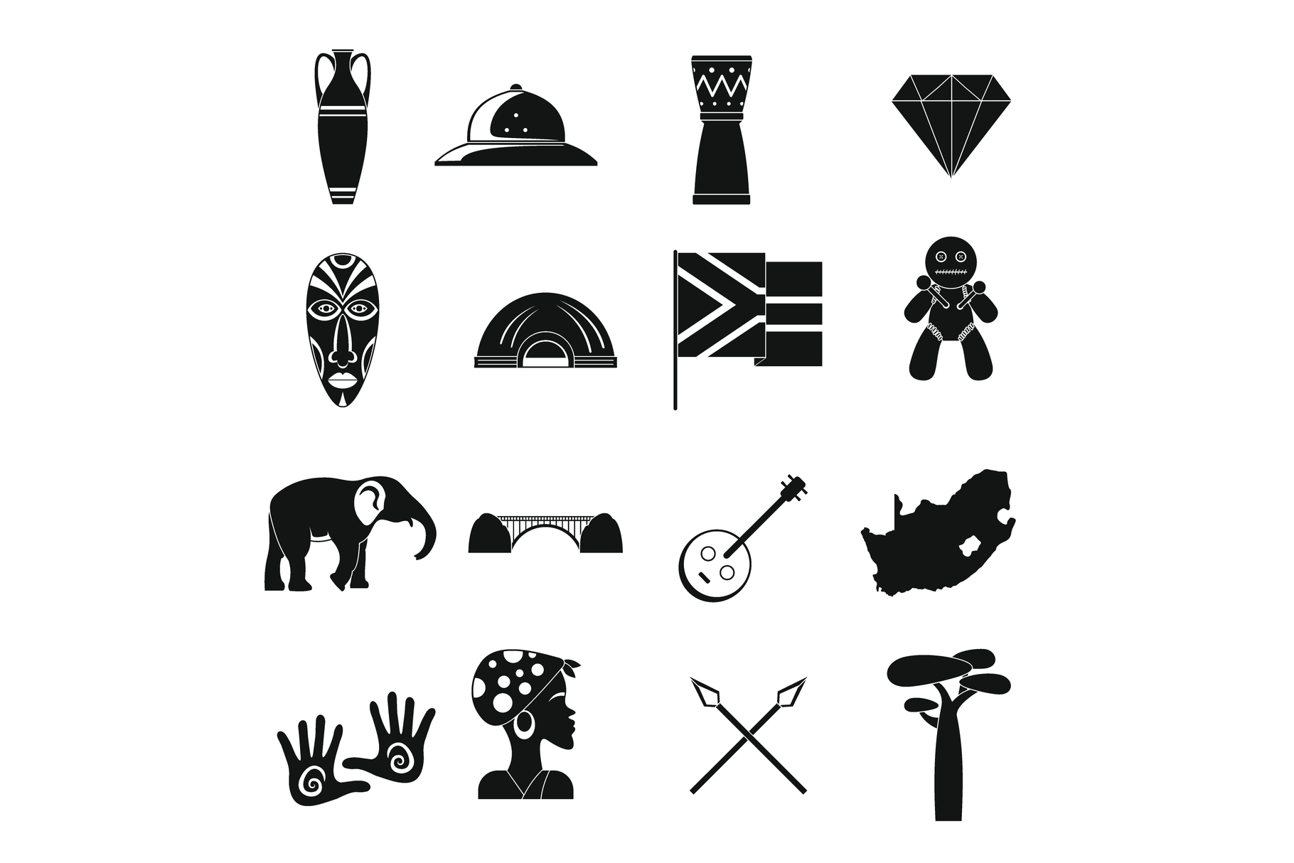 South Africa travel icons set, simple style example image 1
