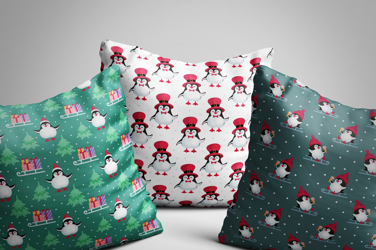 Funny penguins. Christmas seamless patterns example image 3