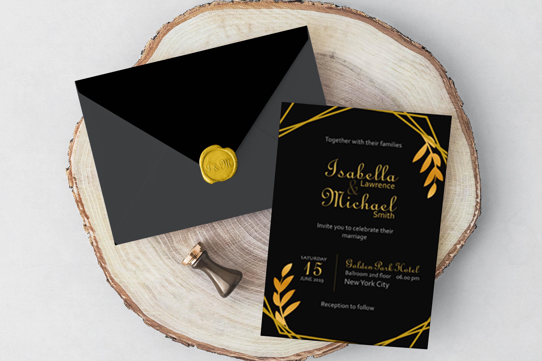 Elegant Golden Leaf Wedding Invitation Kit example image 8