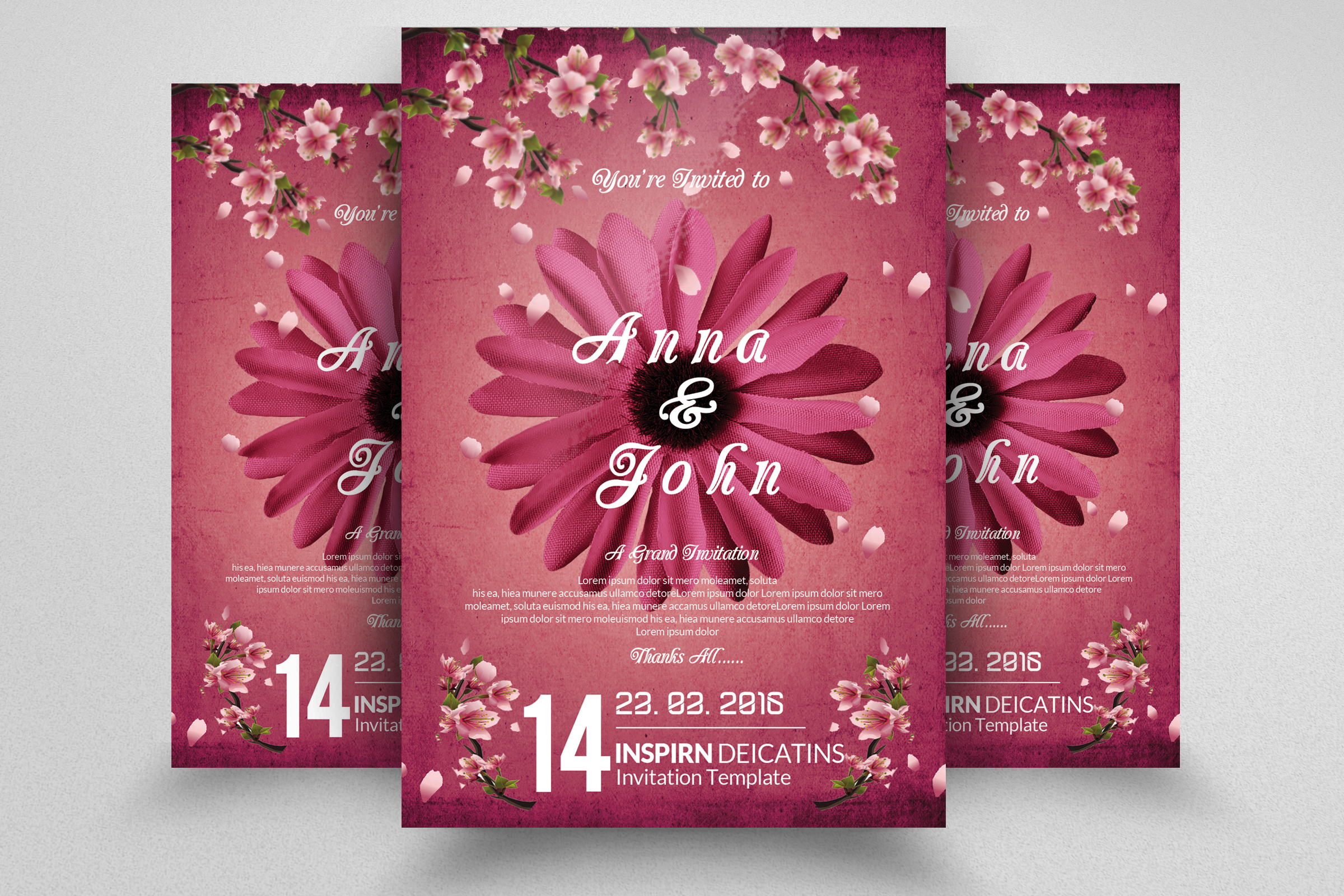Floral Wedding Invitaion Flyer example image 1