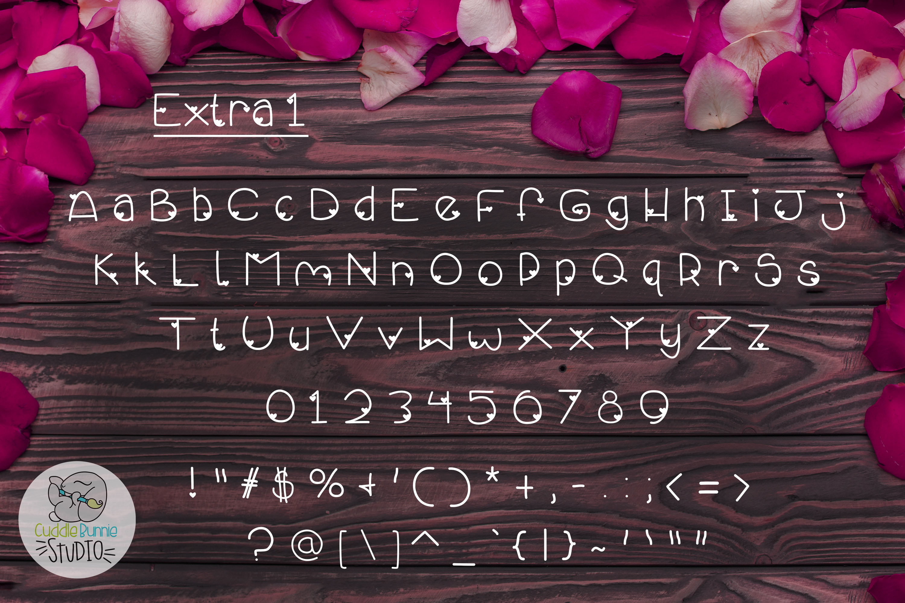 Smothered Rose Petals | A Cute Valentine Font Duo example image 3