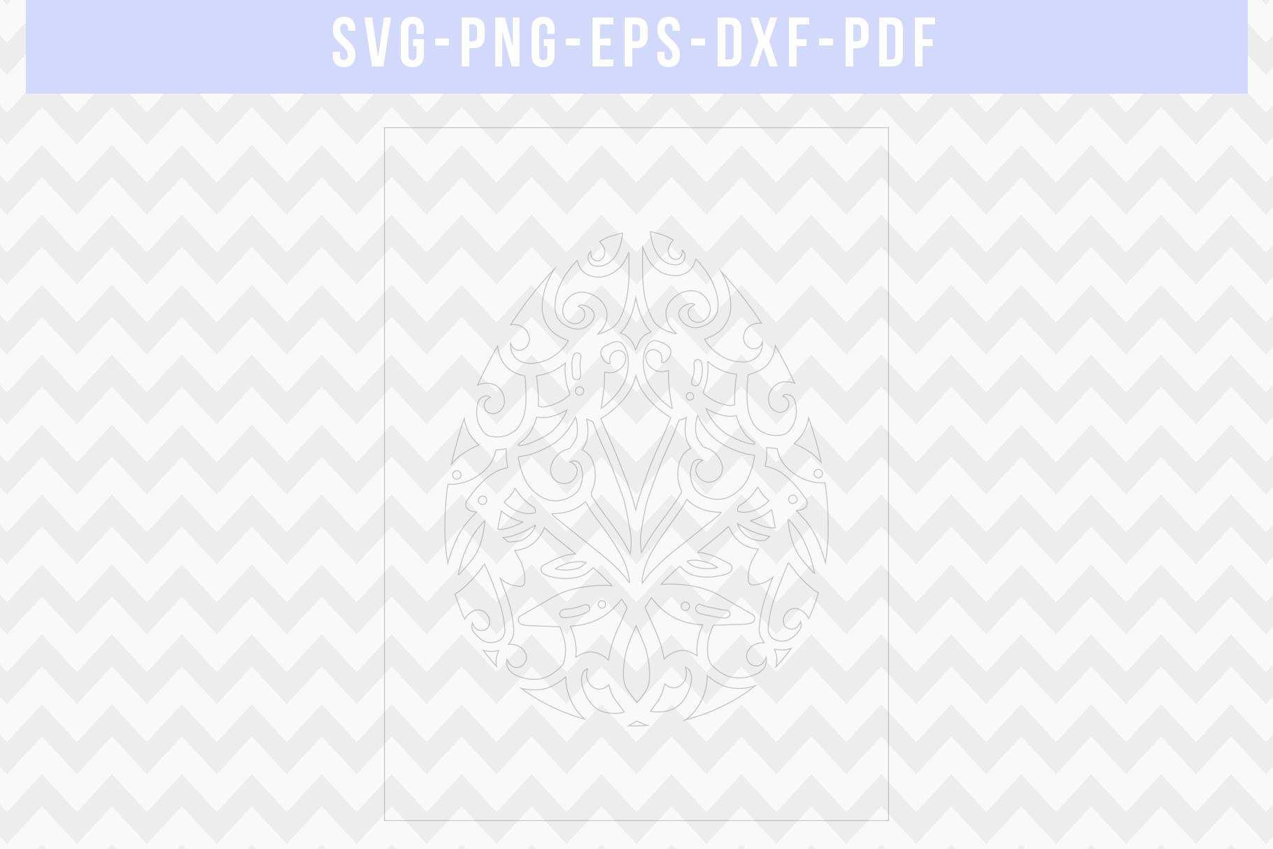 Easter Egg Frame Papercut Template, Metal Decor, SVG, PDF example image 2