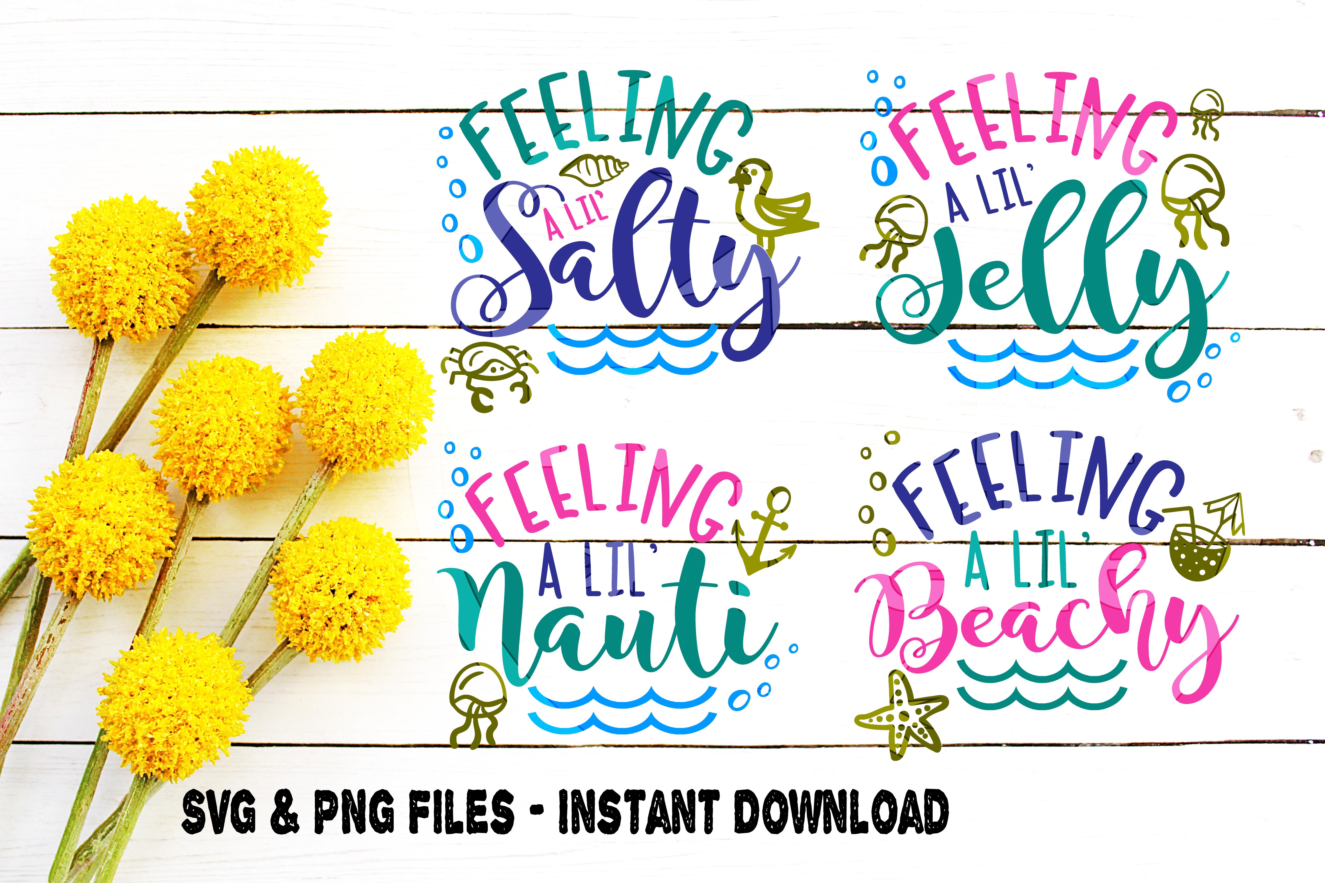 SVG Beach Bundle, 4, Beach Moods svg, Emotions svg, Feeling Nauti svg, Feeling Beachy svg, Feeling Jelly svg, Feeling Salty svg, Cut File example image 1