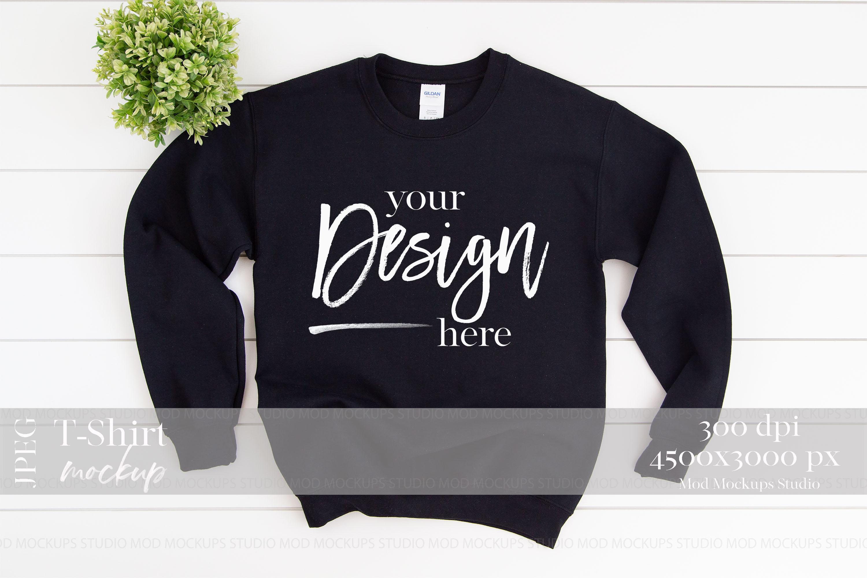 Gildan 18000 Mockup | Sweatshirt Mockup BLACK example image 1