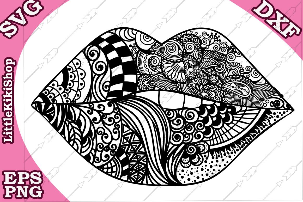 Lips Svg,Biting Lips Svg,Mandala Lips Svg,Kiss Svg,Lips cut example image 2