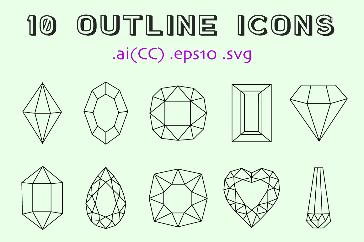 10 Colored and 10 Outline Gemstones  example image 3