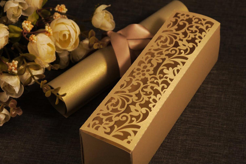 Laser Cut Scroll Wedding Invitation Box, DXF, SVG Cricut example image 1