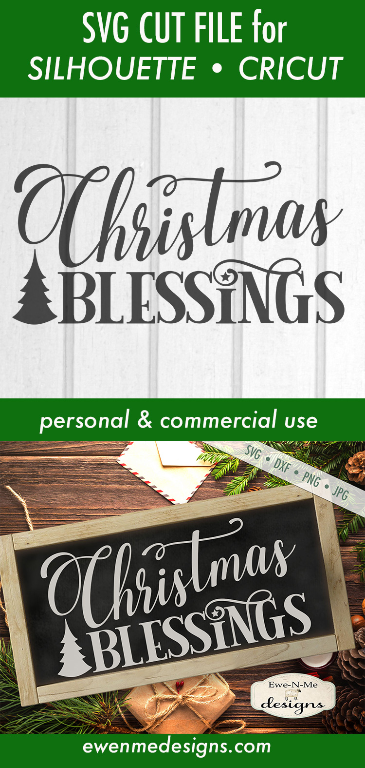 Christmas Blessings - Tree - SVG DXF Files example image 3
