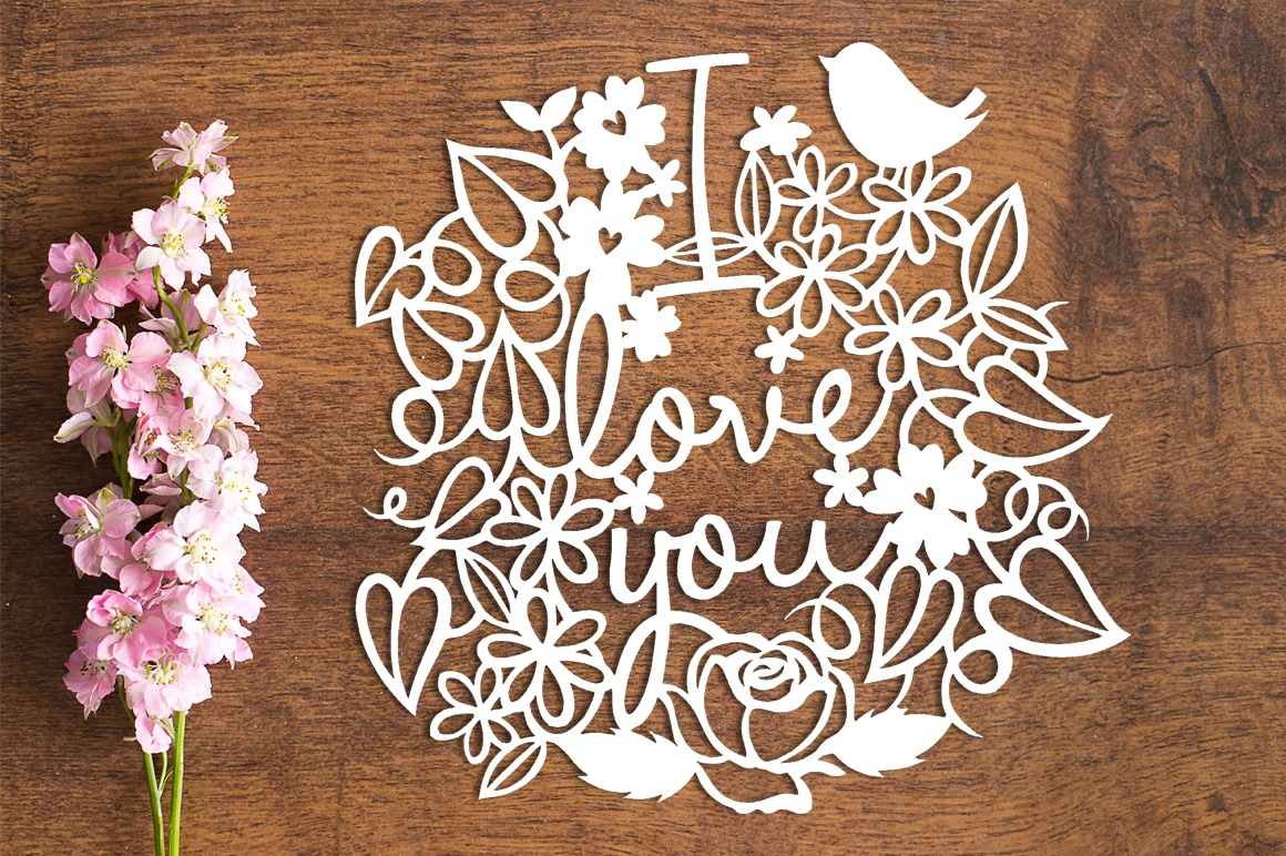I Love You Wreath - Paper Cutting Template example image 1