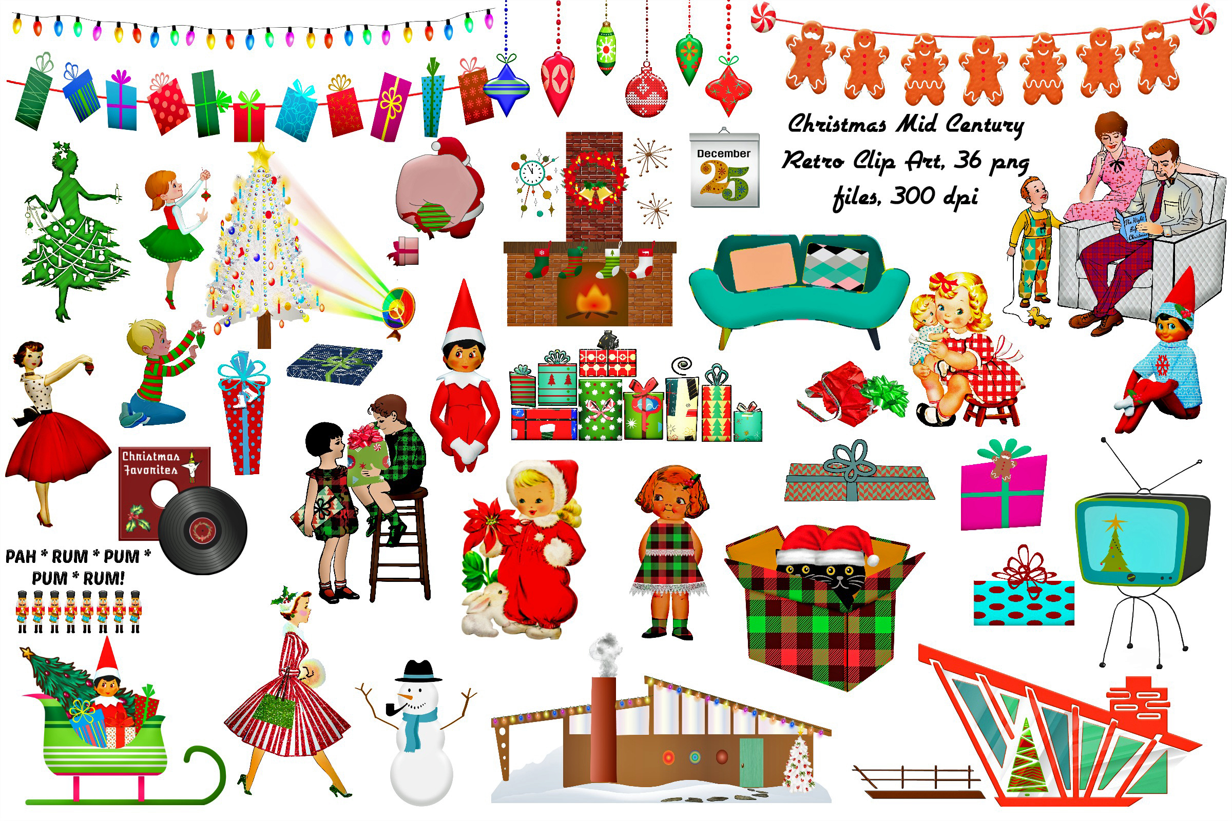 Retro Christmas.Mid Century Retro Christmas Clip Art Atomic Age