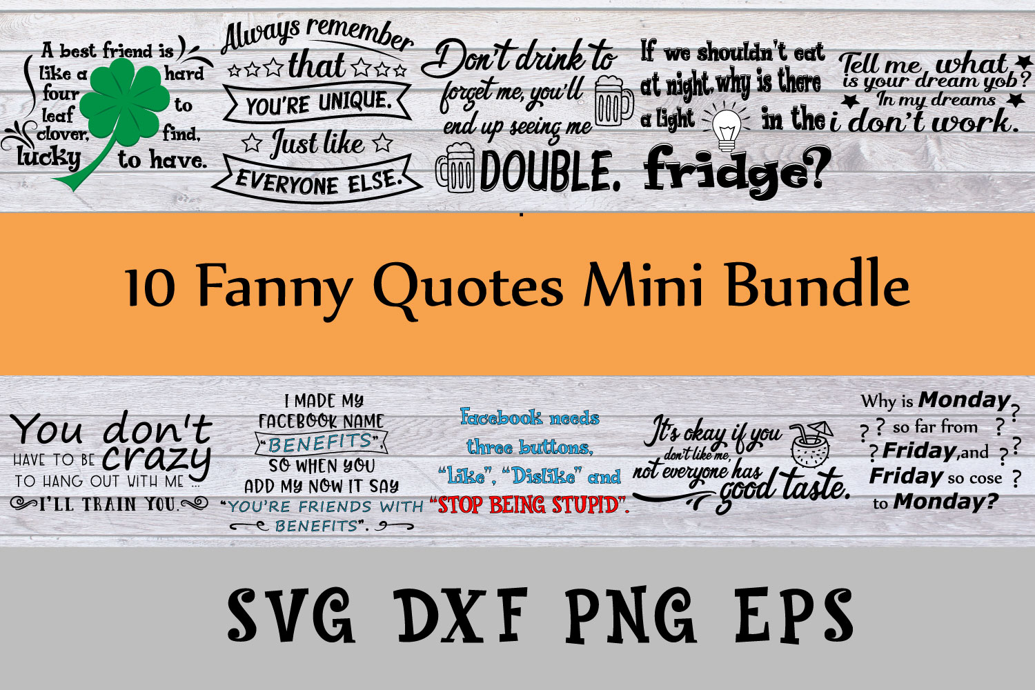 Fanny quotes mini bundle Svg Dxf Png Jpg Eps vector file Cut example image 1