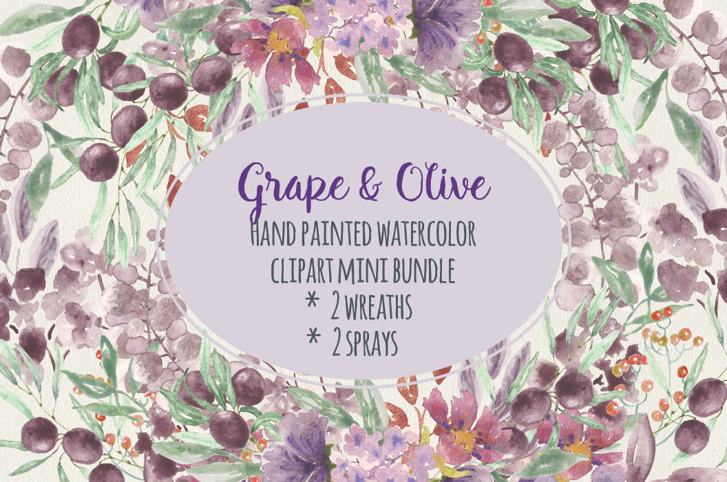 Watercolor clip art: grape and olive example image 1