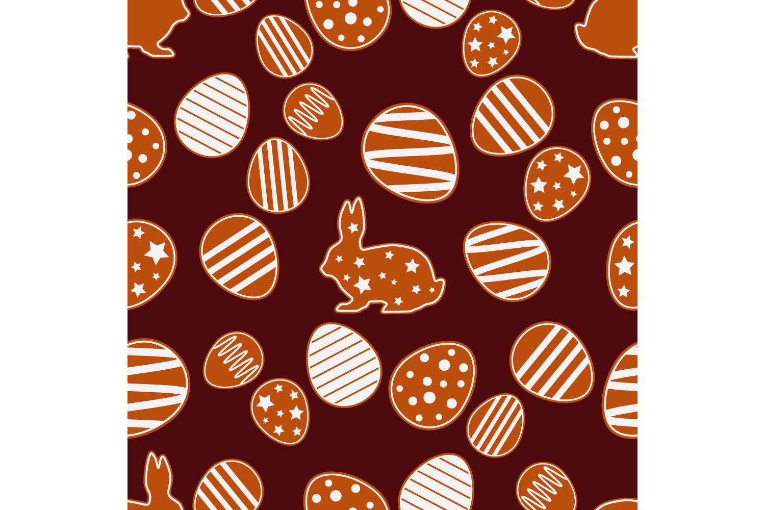 Easter gingerbread ornament. Set of 10 seamless patterns. example image 5