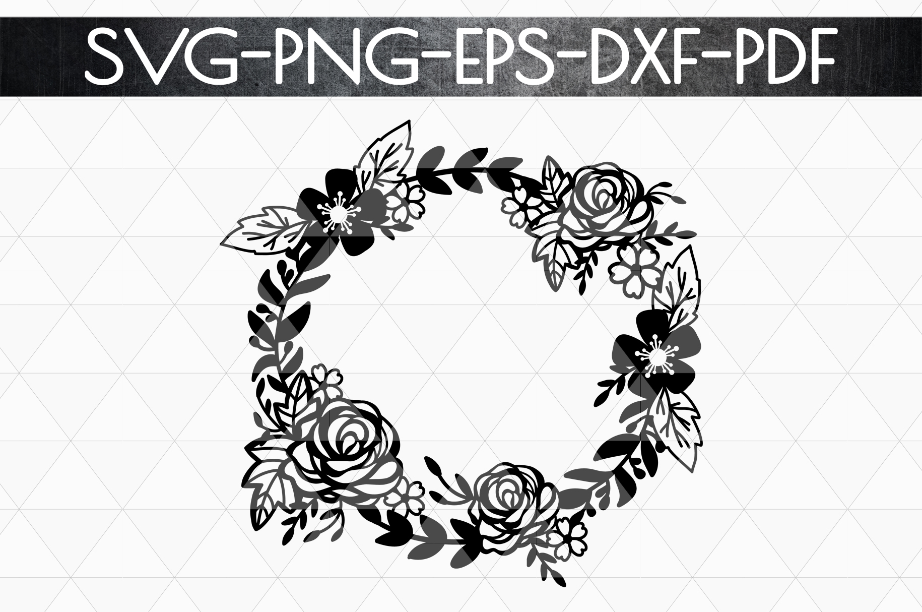 Floral Wreath Papercut Template, Spring Design SVG, PDF, DXF example image 4