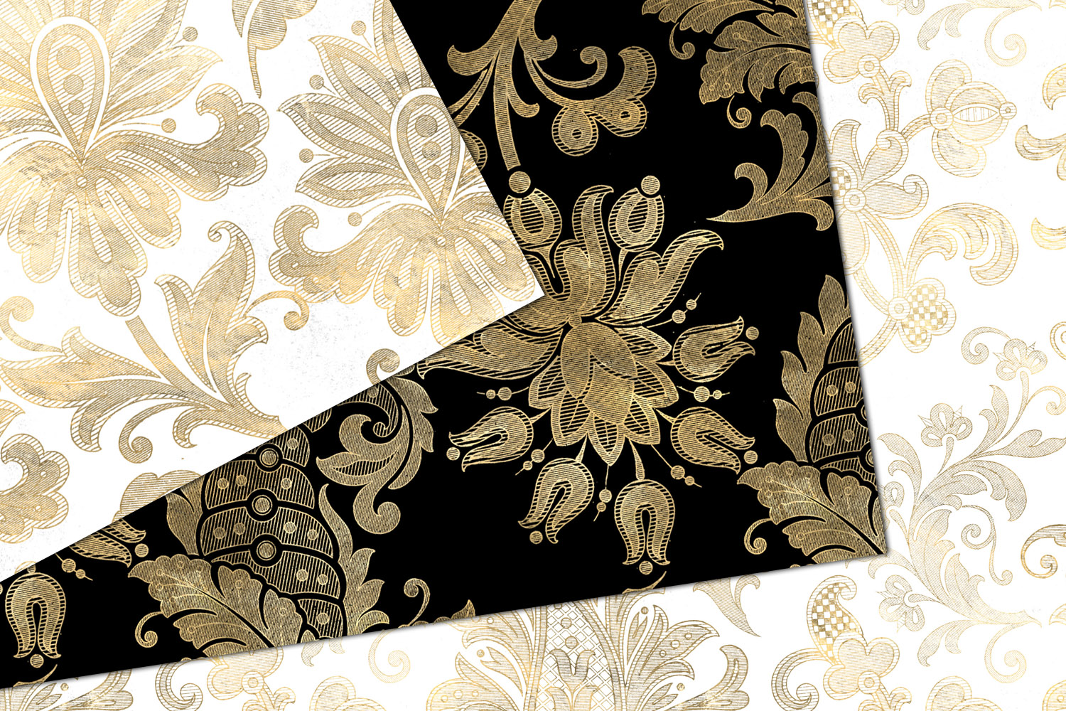 Black White and Gold Floral Digital Paper example image 2