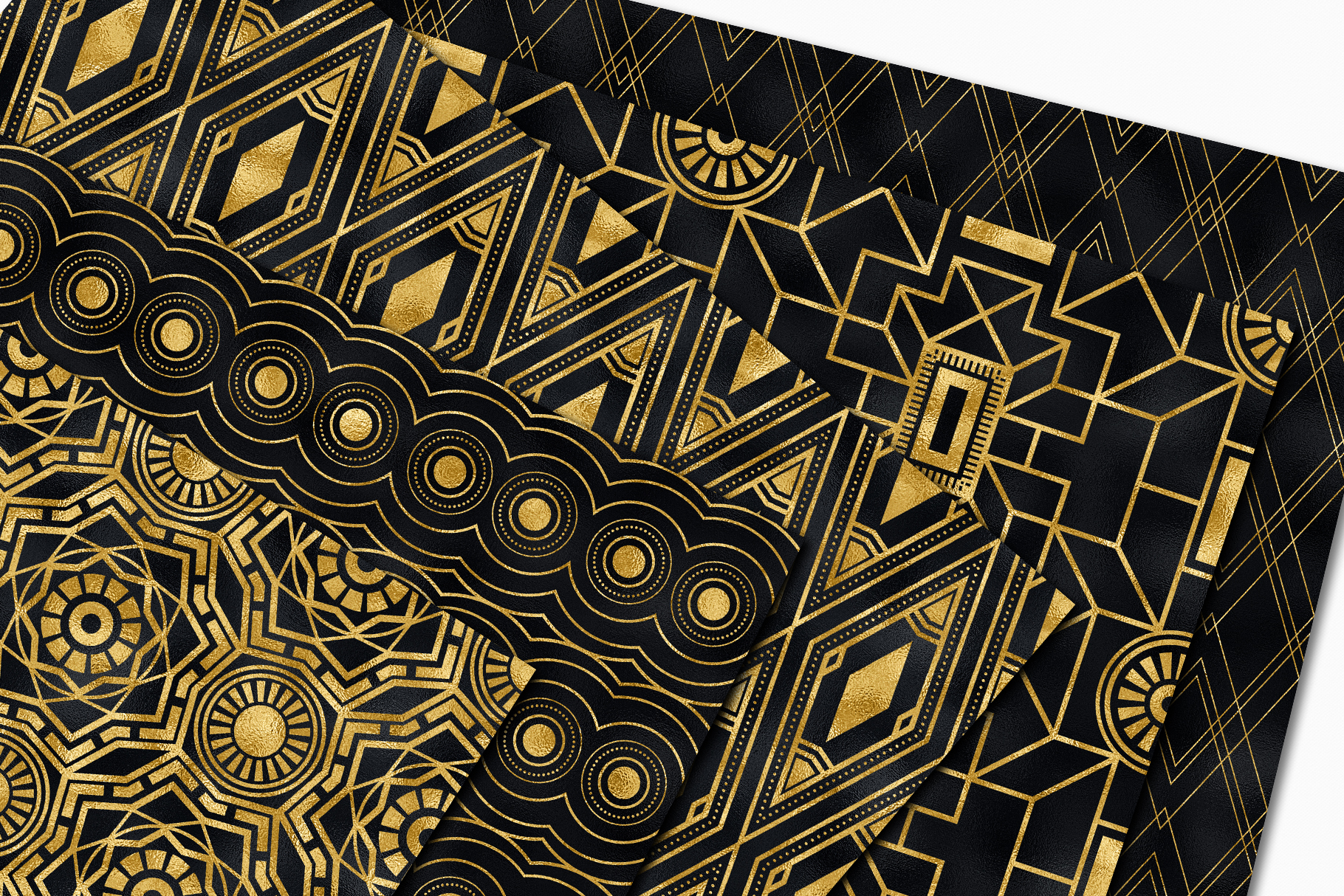 Seamless Art Deco Patterns - Black and Gold Digital Papers example image 3