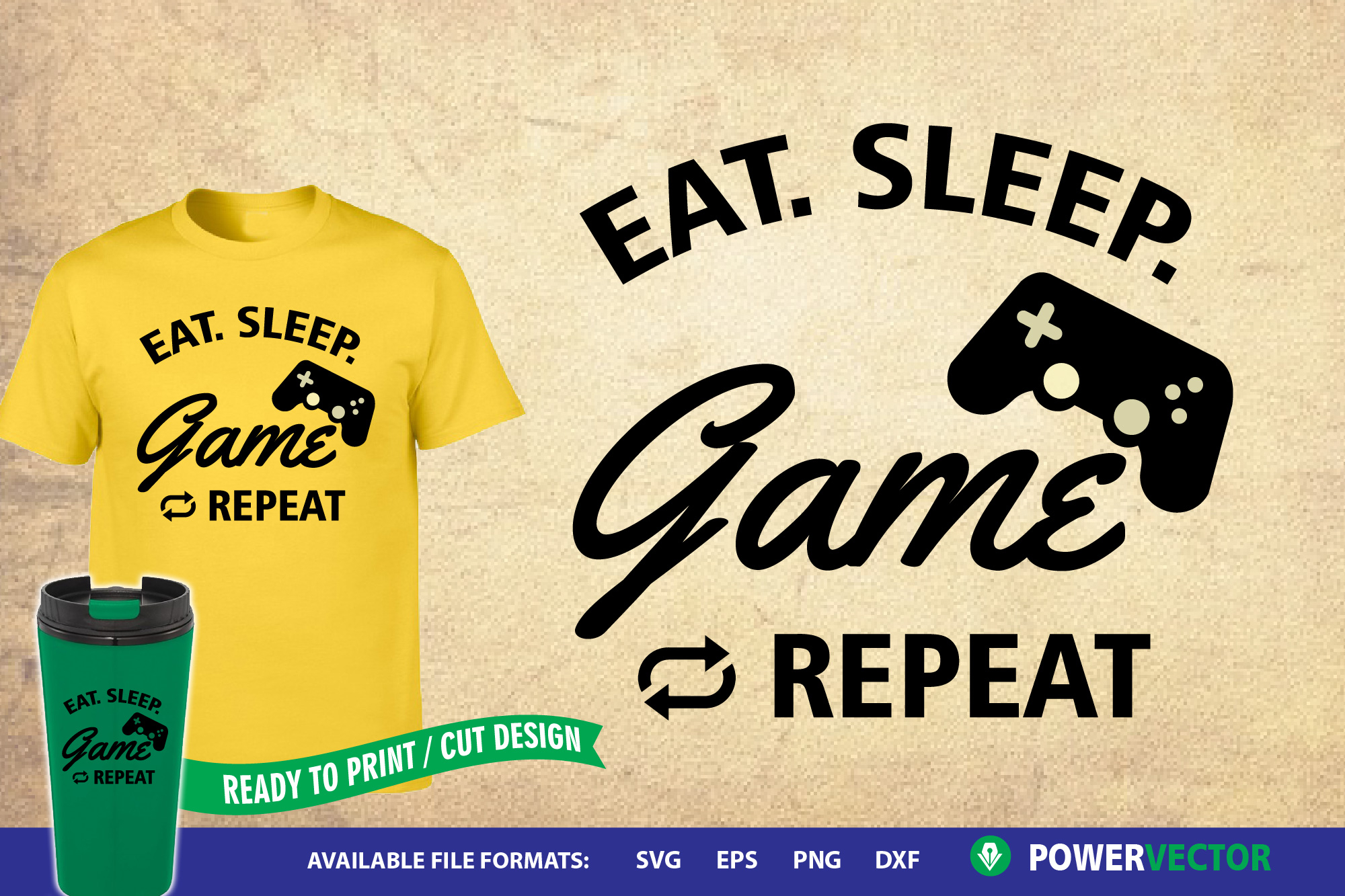 Sayings svg|Eat Sleep Game Repeat Svg Dxf Eps Cut Files example image 1