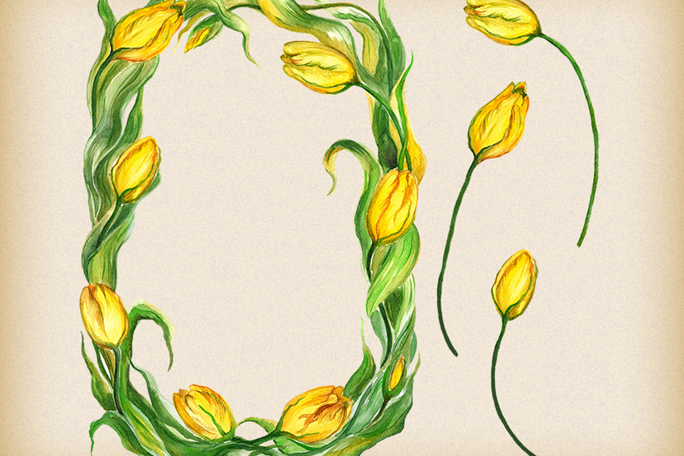 Tulip clipart, flower frame clipart, Watercolor floral example image 3