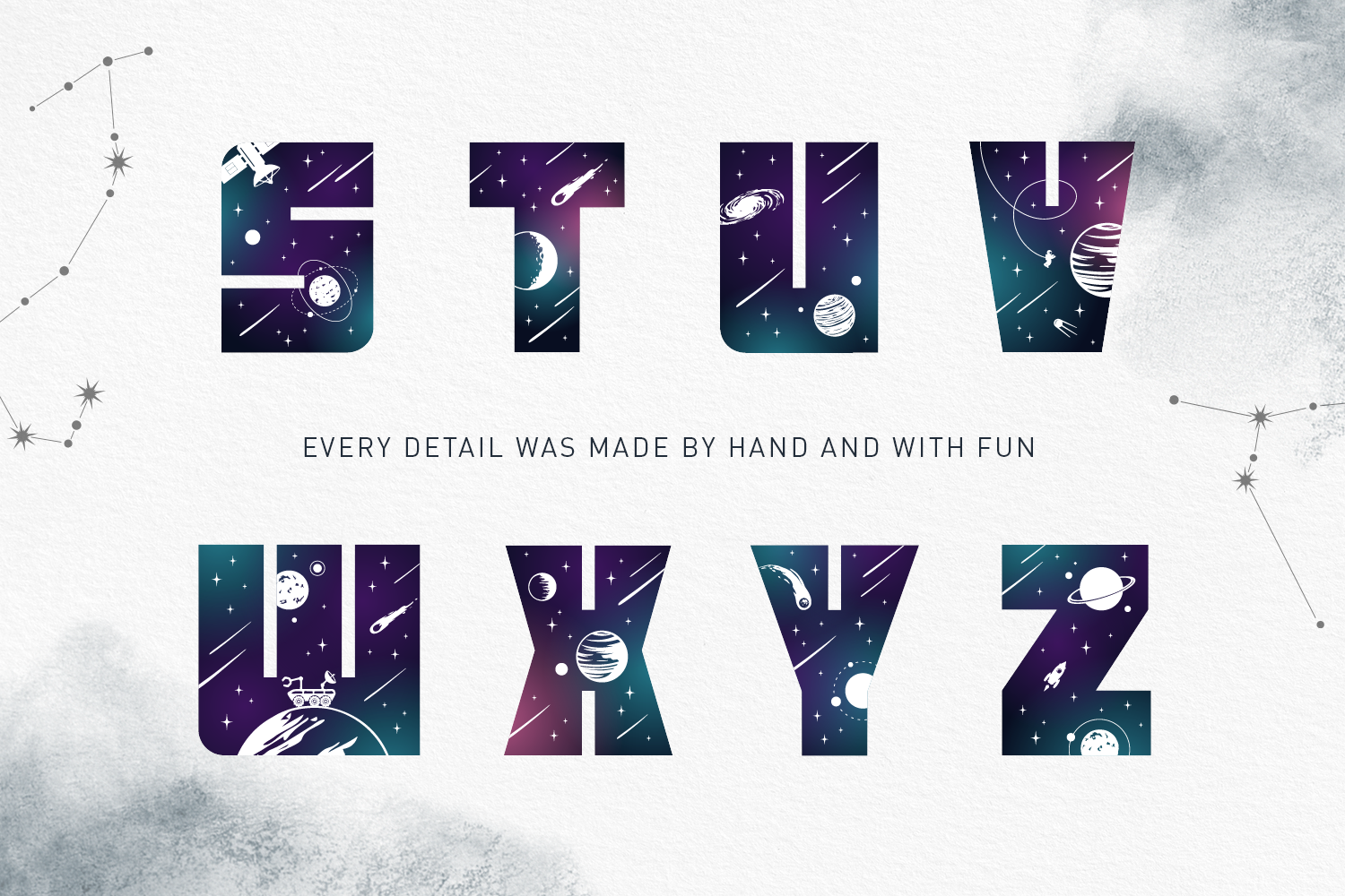 Lost In Space. Color Font - SVG example image 13
