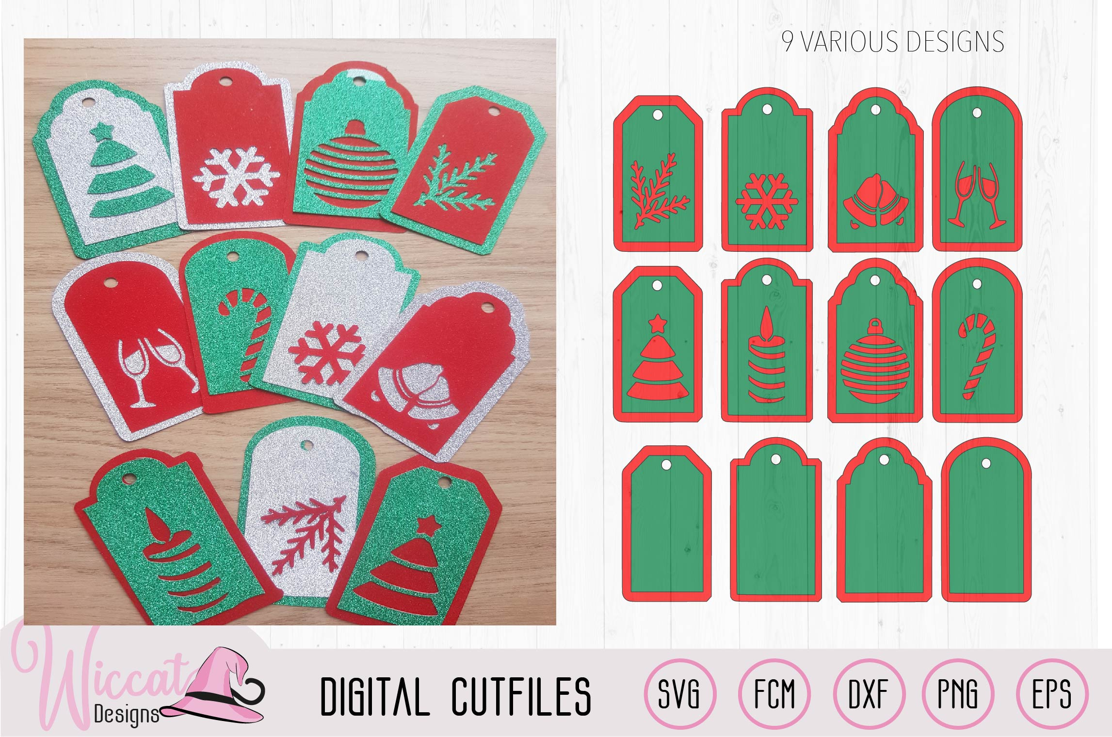 Christmas gift tags cut file, 9 different gift tags example image 1