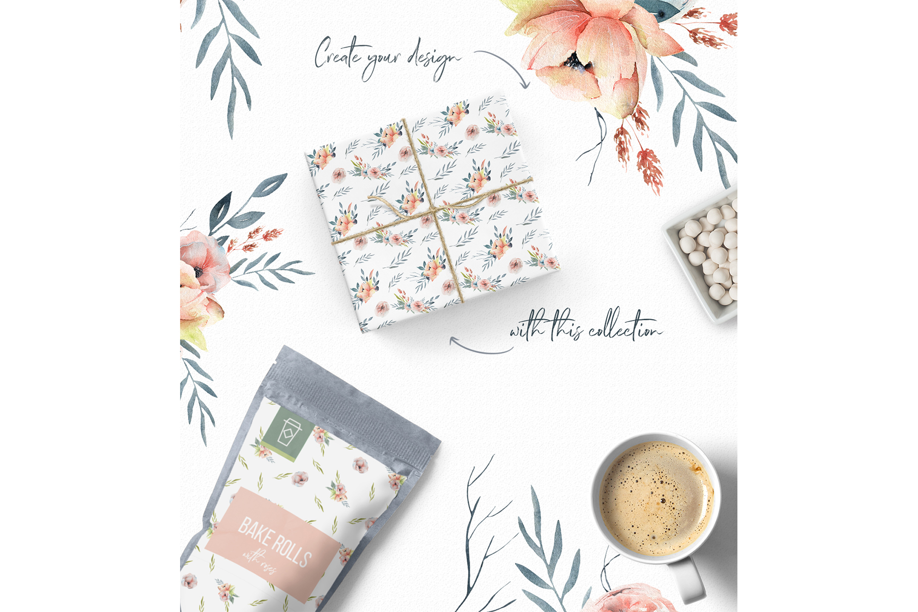 Spring Watercolor Collection, Summer coral and pink flowers example image 8