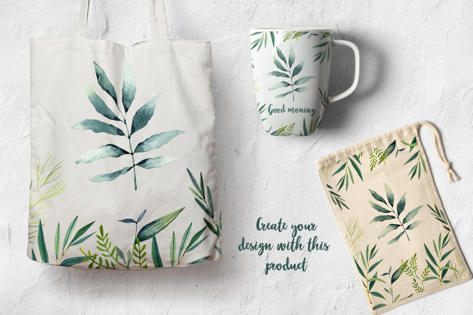WATERCOLOR herbs, leaves, poppy, wild flowers example image 7