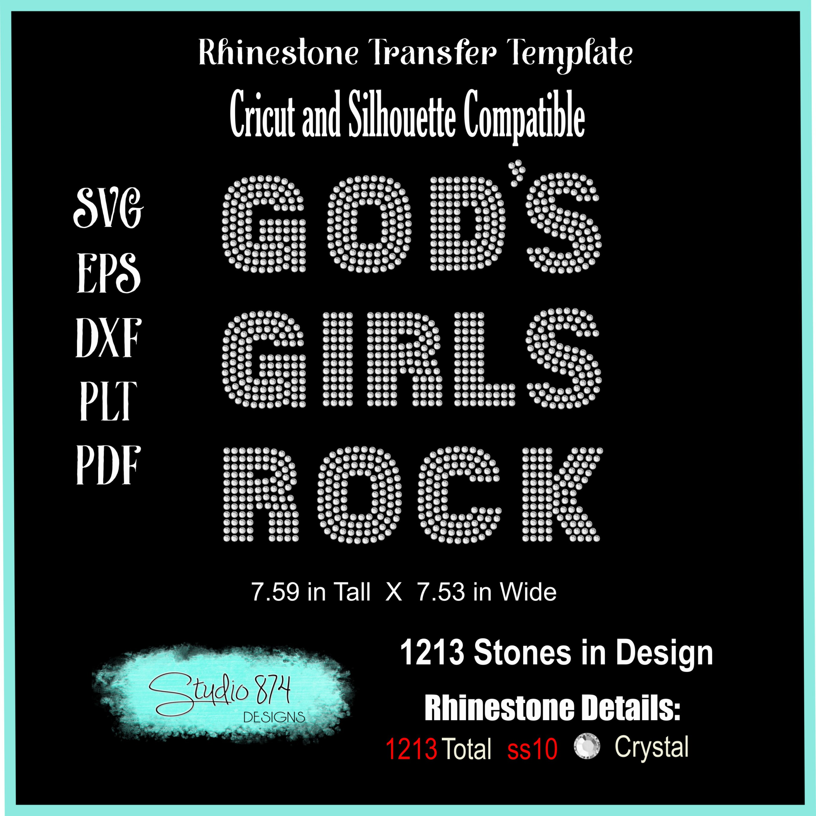 Faith Religious Rhinestone SVG Template - Gods Girls Rock example image 3