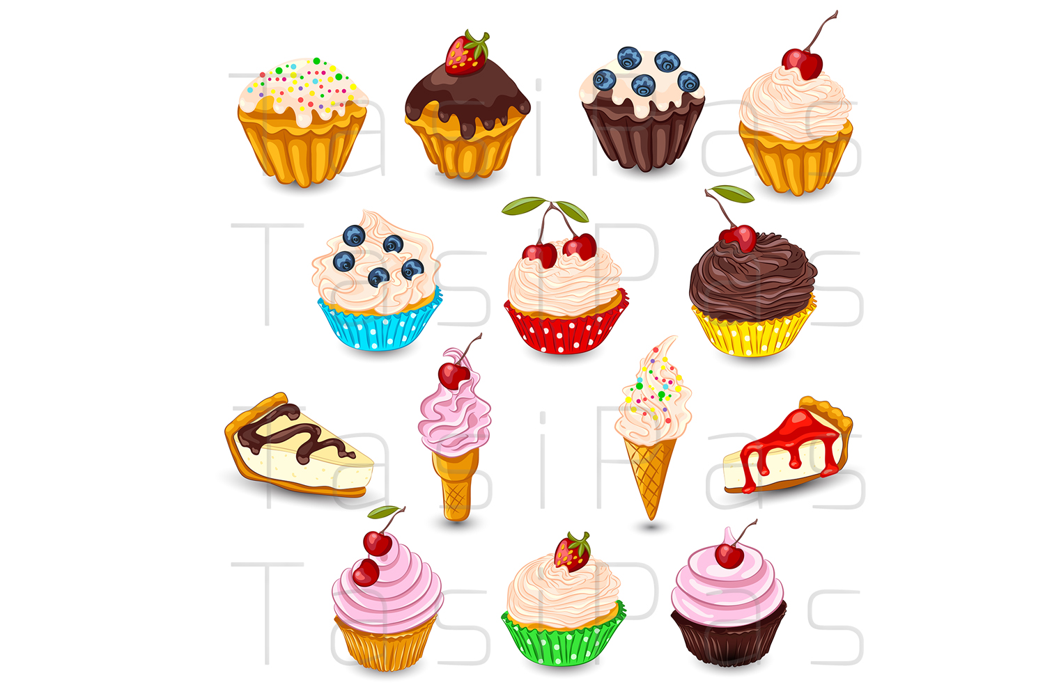 Set of vector desserts. example image 1