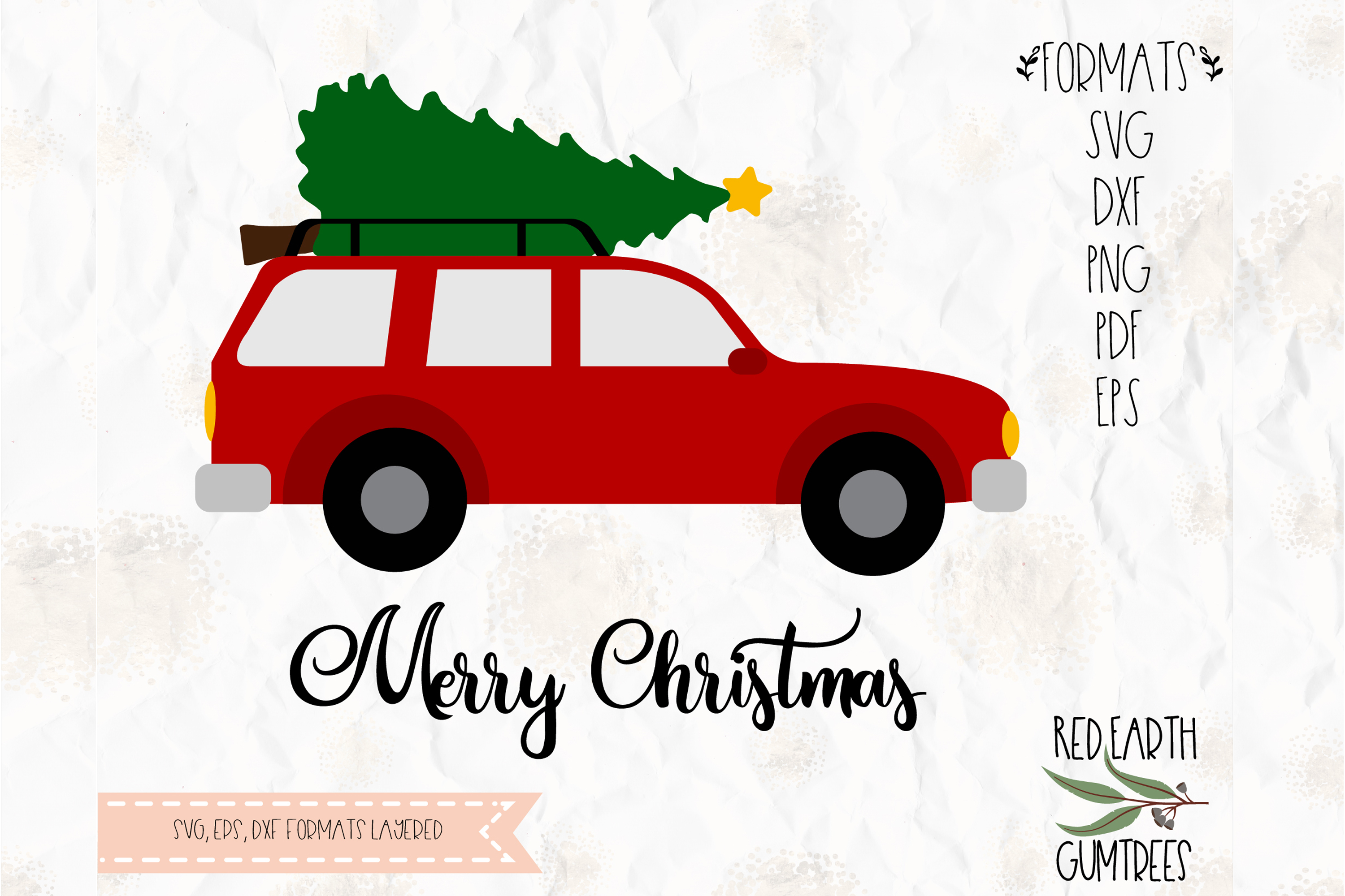 Car Christmas Tree.Car With Christmas Tree On Top Svg Dxf Png Eps Pdf Format