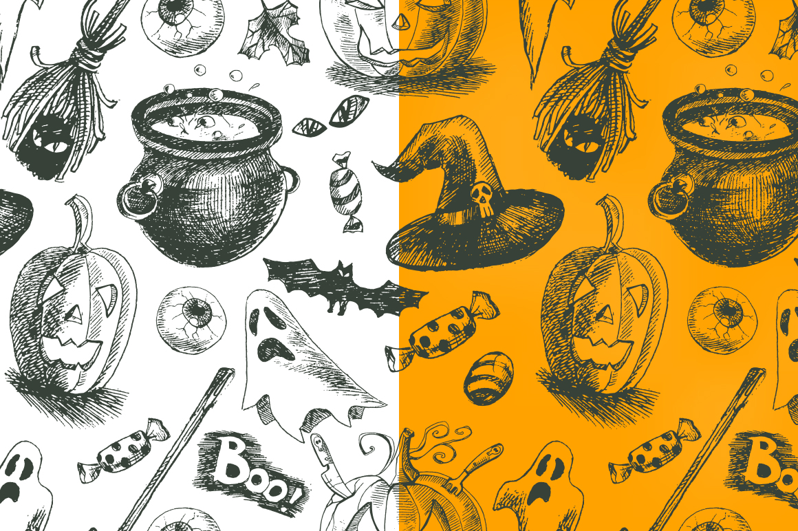 Hand drawn vector Halloween set example image 3