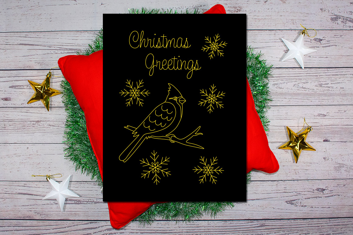 Cardinal Christmas Greetings SVG Foil Quill|Sketch Pen example image 2