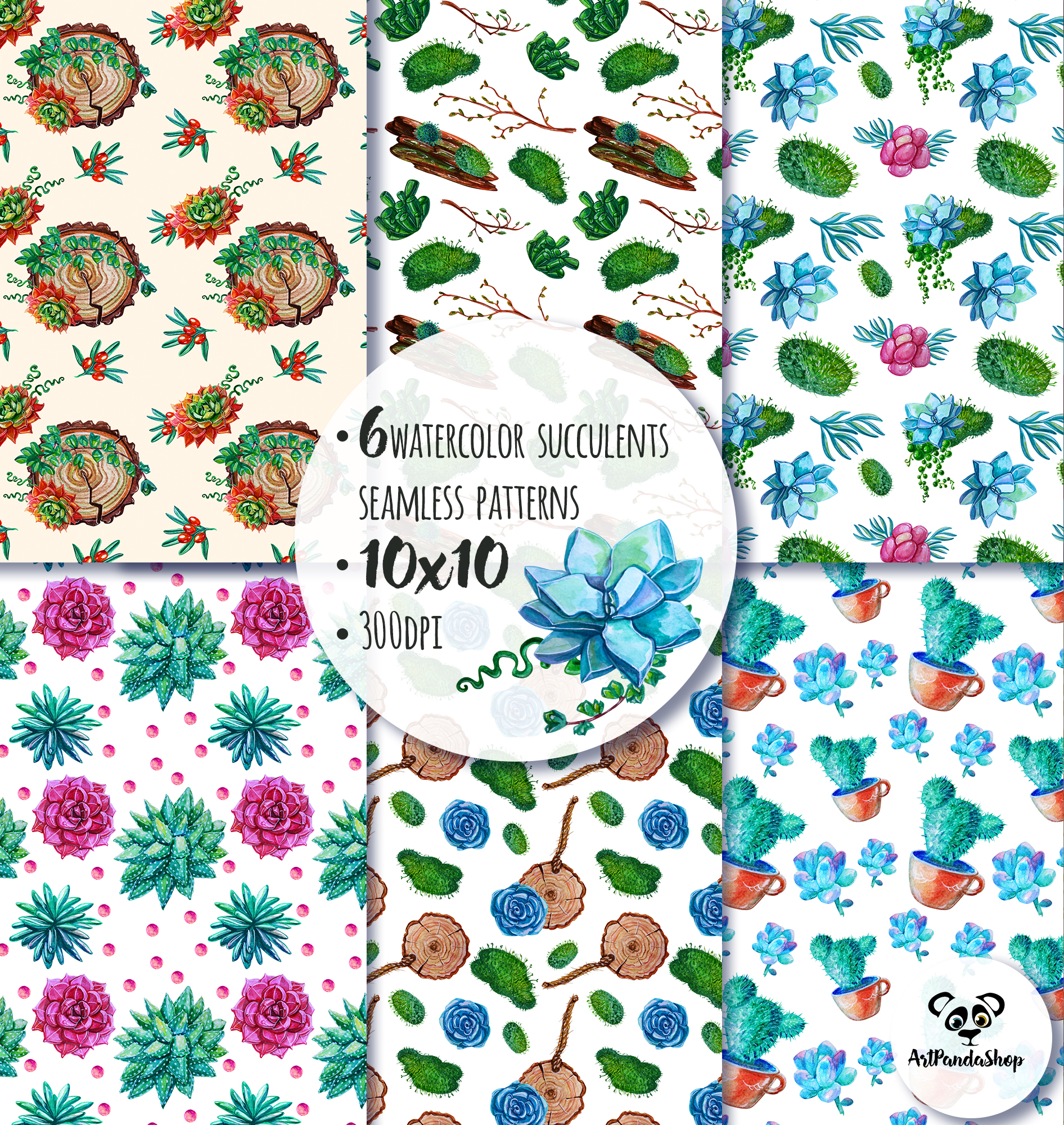 Succulent watercolor seamless pattern example image 2
