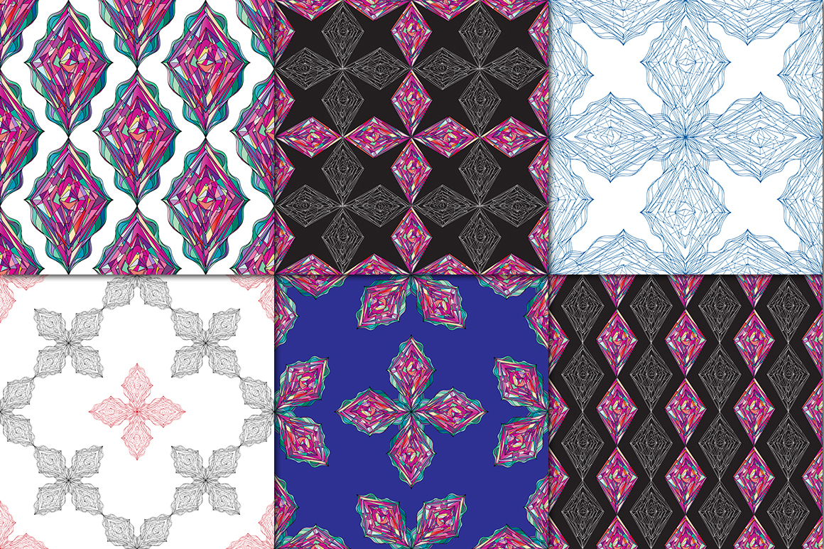 Ornaments diamonds patterns collection. example image 4