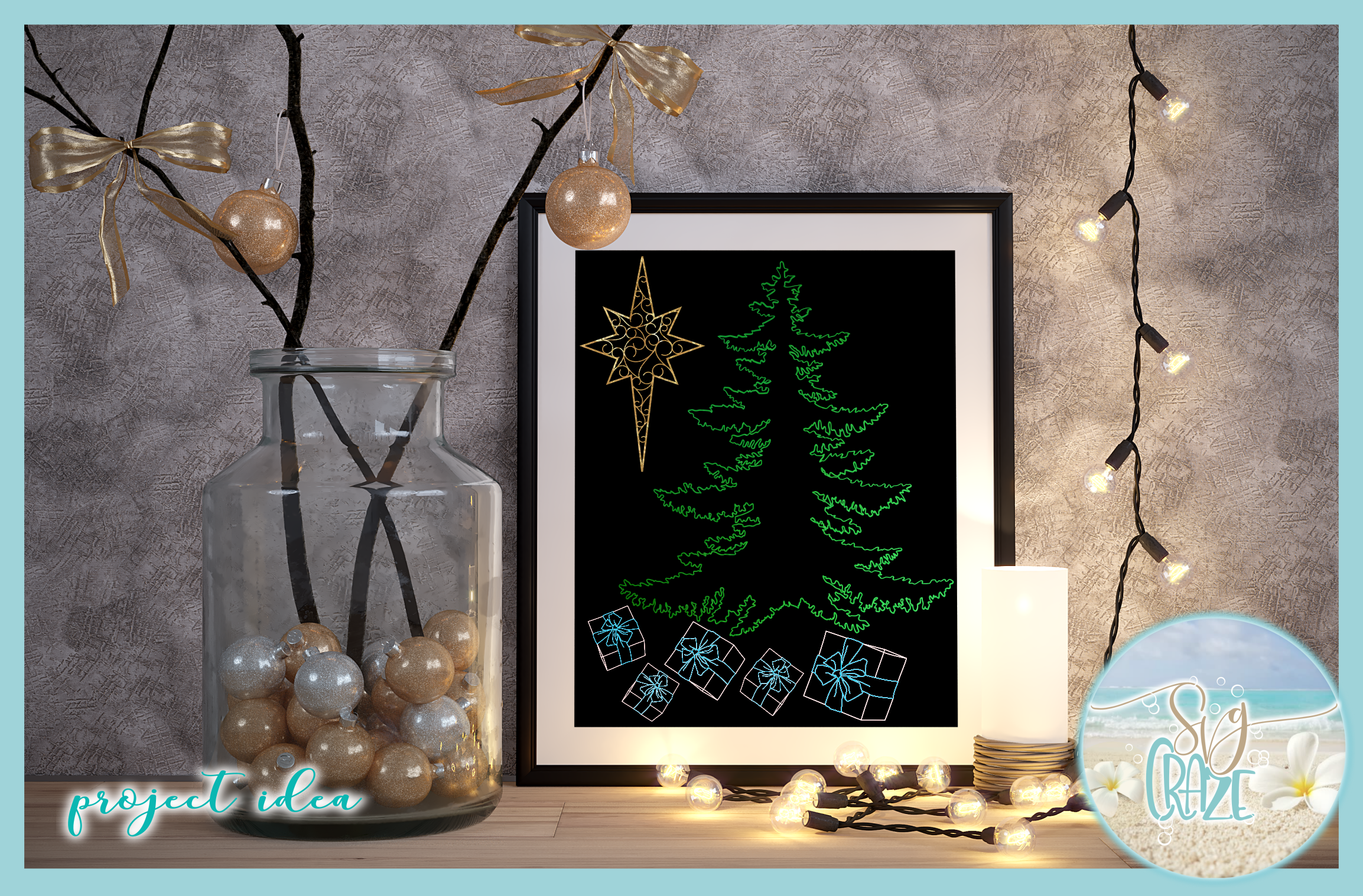 Foil Quill Single Line Christmas Elements SVG example image 2