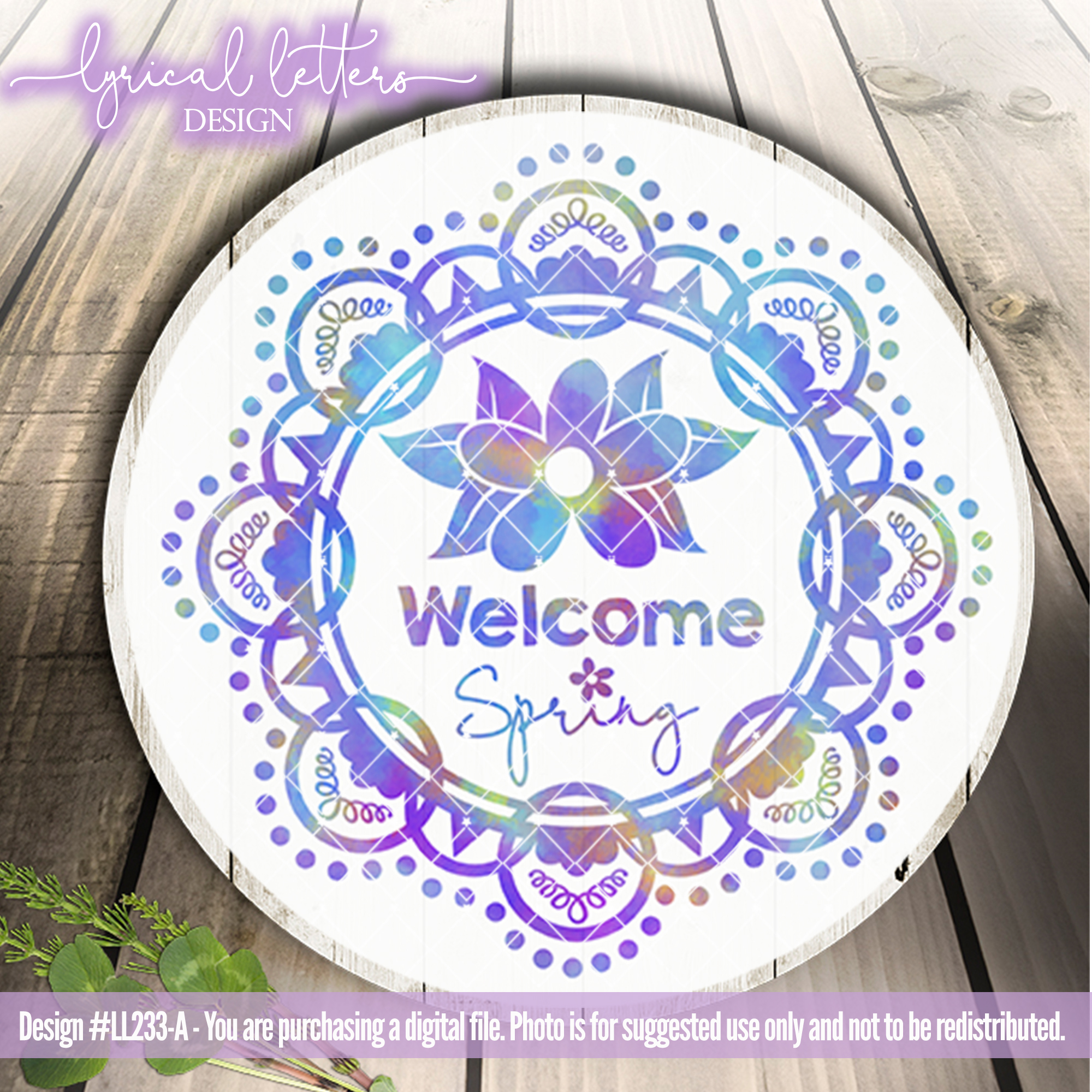 Welcome Spring Wreath SVG DXF FCM LL233A example image 2