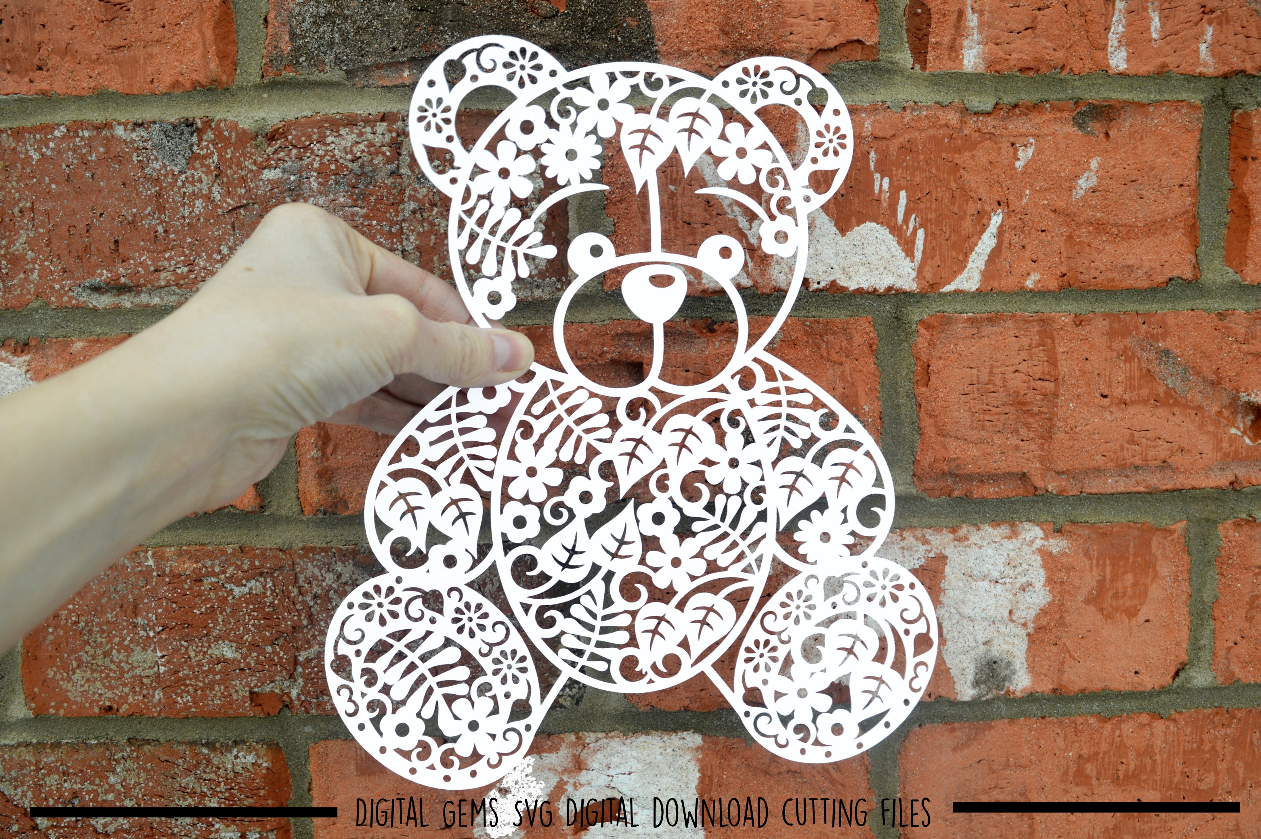 Teddy Bear paper cut SVG / DXF / EPS / PNG files example image 2