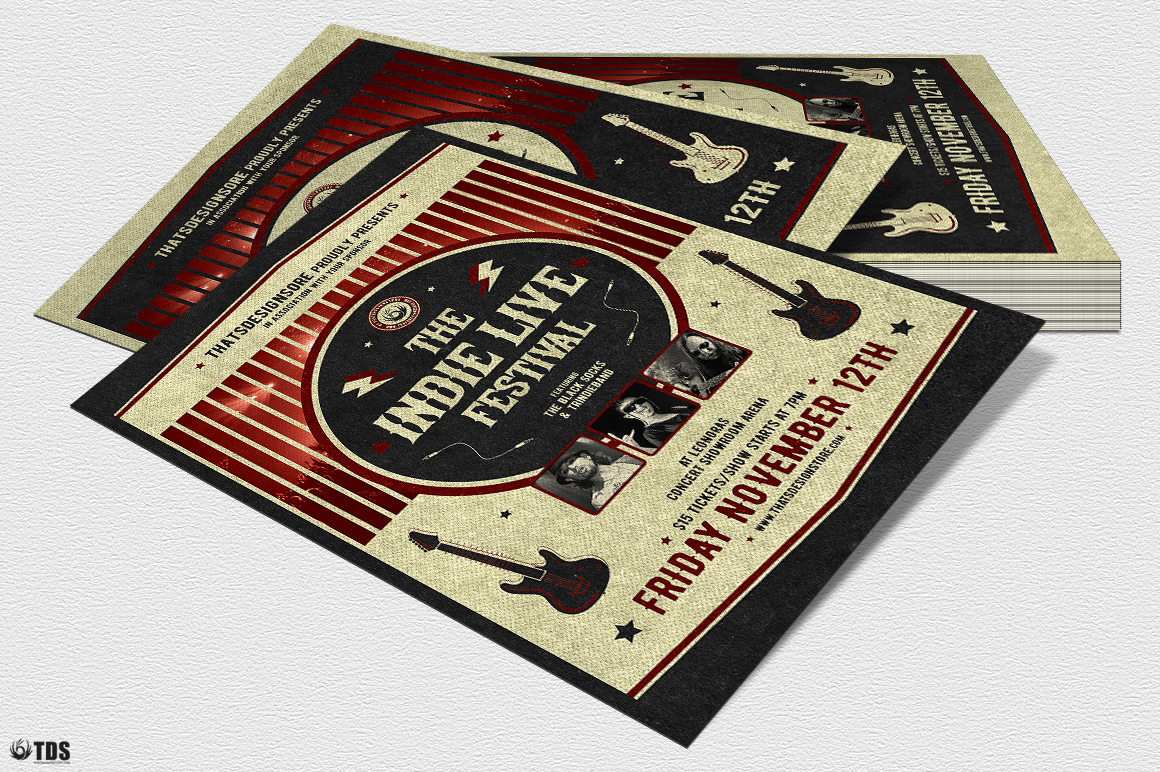 Indie Live Festival Flyer Template V2 example image 4