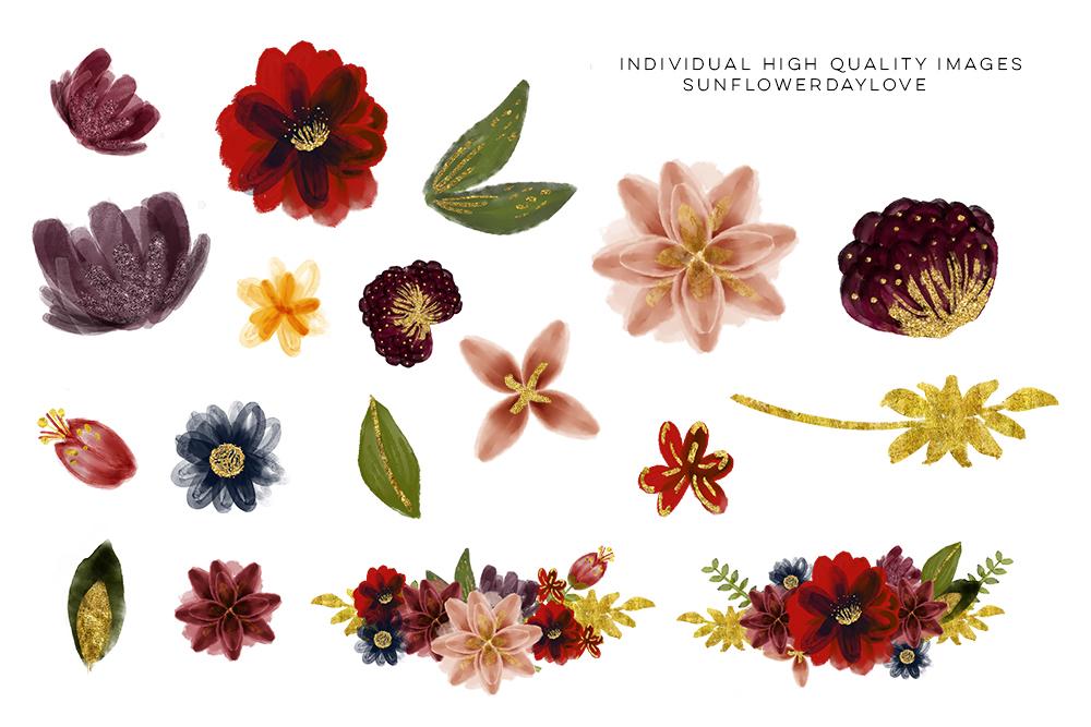 Marsala Burgundy Navy Floral Watercolor Set Clip art example image 13