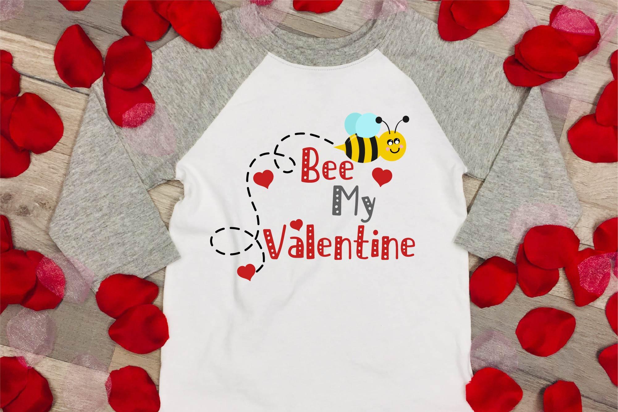 Valentine's Day SVG Valentine Bee My Valentine EPS, JPG, DXF example image 1