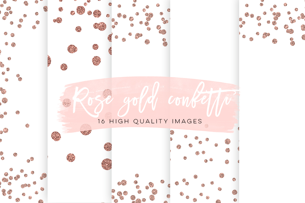 Rose Gold Confetti Overlays, Rose Gold Scrapbook Paper, Gold Paper, Rose Gold Glitter Confetti, Rose Gold Party Backgrounds, Best Selling example image 1