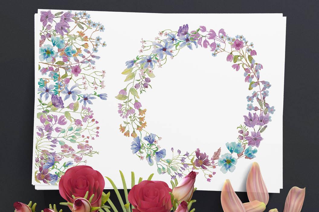 'Field flowers': border plus wreath example image 5