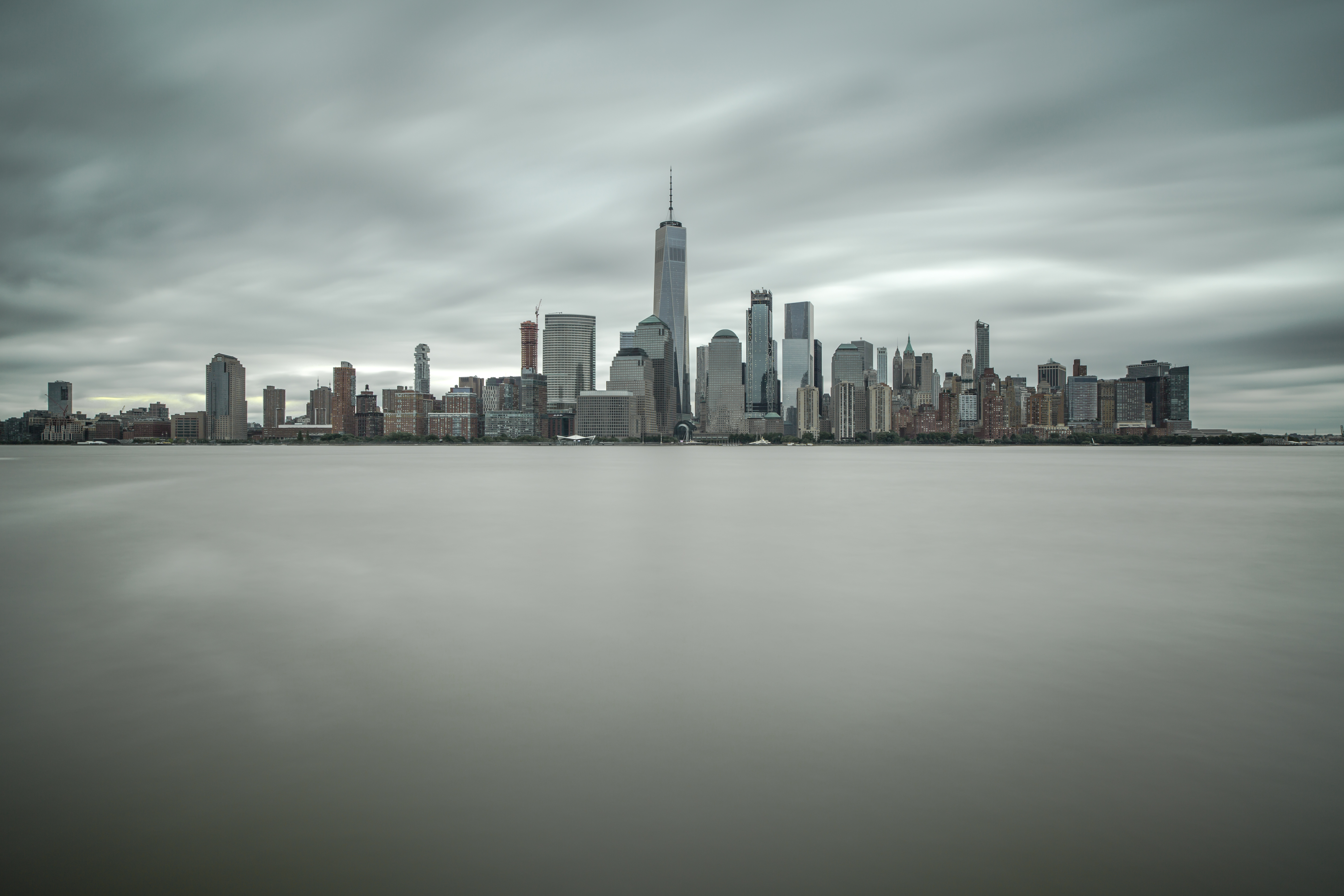 Downtown Manhattan view on a cloudy windy day example image 1