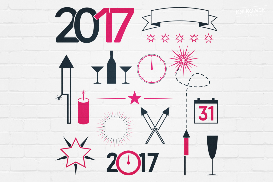 New Year 2017 Badges Logos example image 4