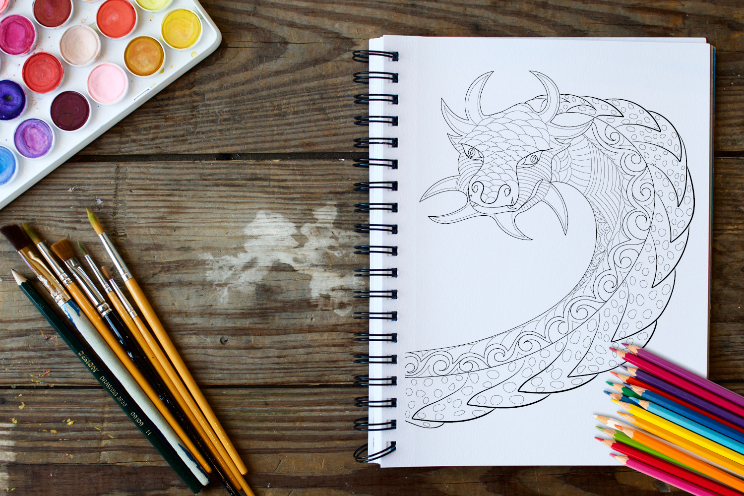 30 Dragons Adult Coloring Pages Instant Download, Coloring Book for Adults example image 4