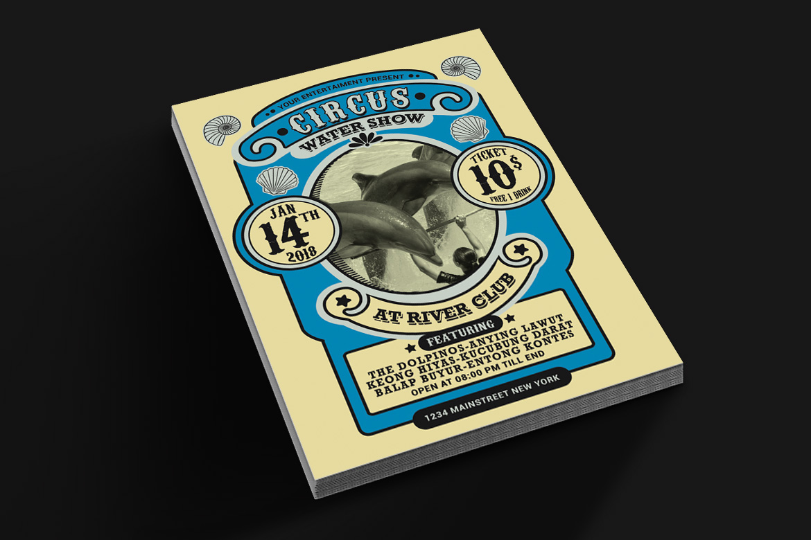 Vintage Marine Circus Carnival Flyer example image 2