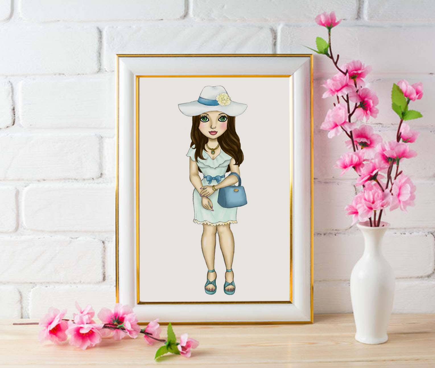 Easter Fashion Girls Clipart, Black Girl Dolls Fashion PNG example image 4