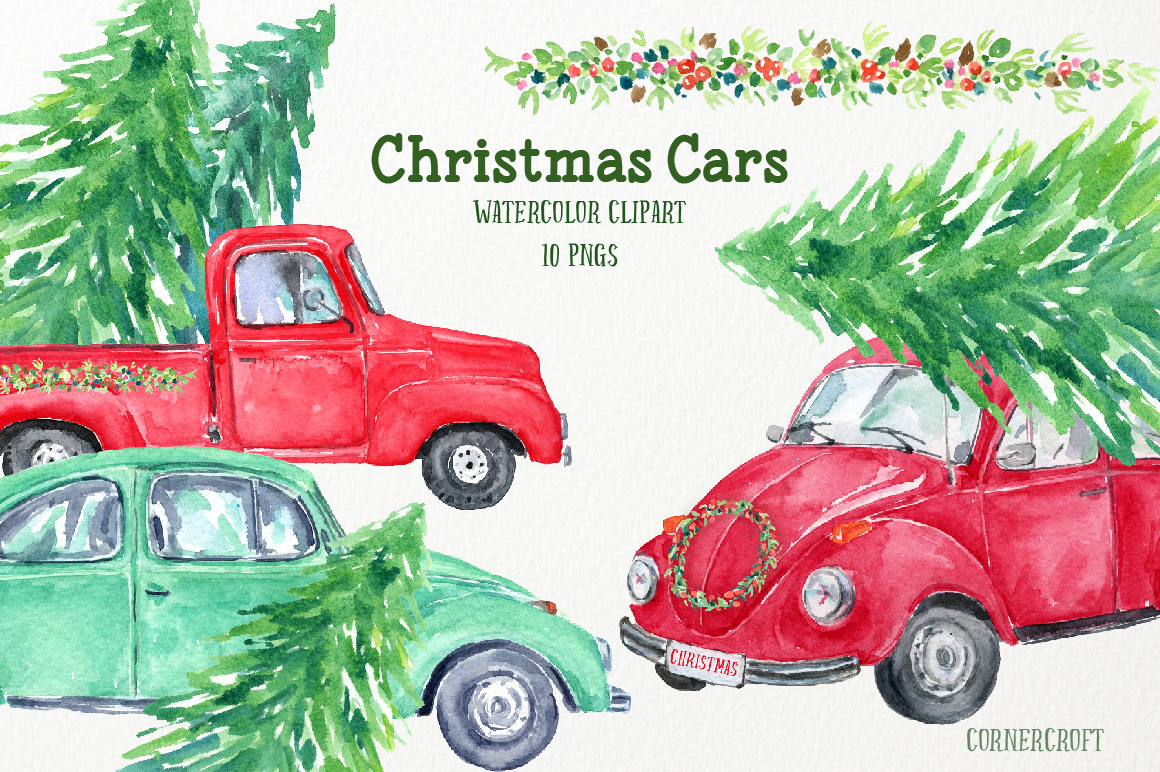 Watercolor Christmas Cars example image 3