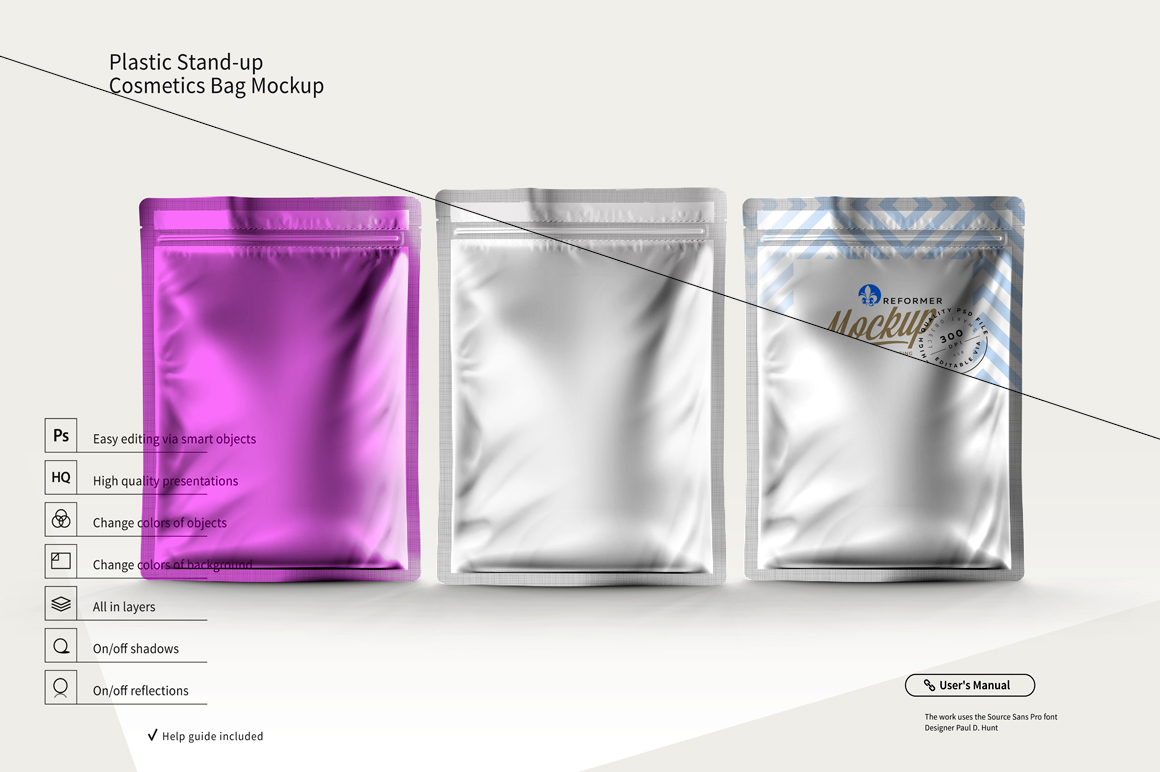 PLASTIC STAND-UP COSMETICS BAG MOCKUP example image 4