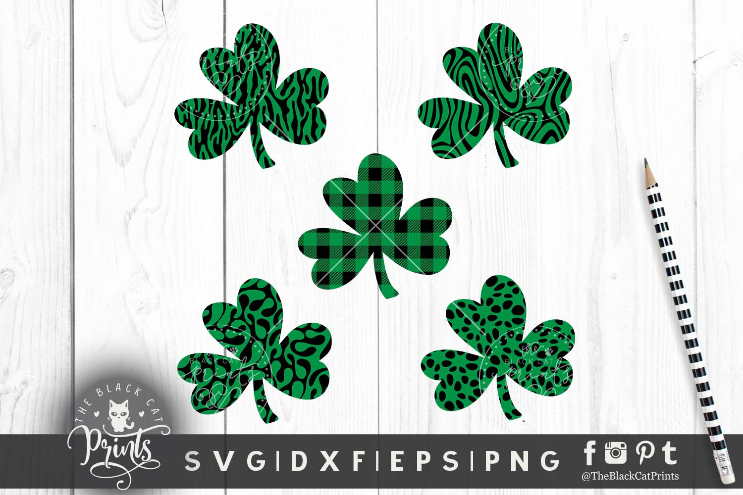 Shamrock Clover Clipart SVG DXF EPS PNG example image 1