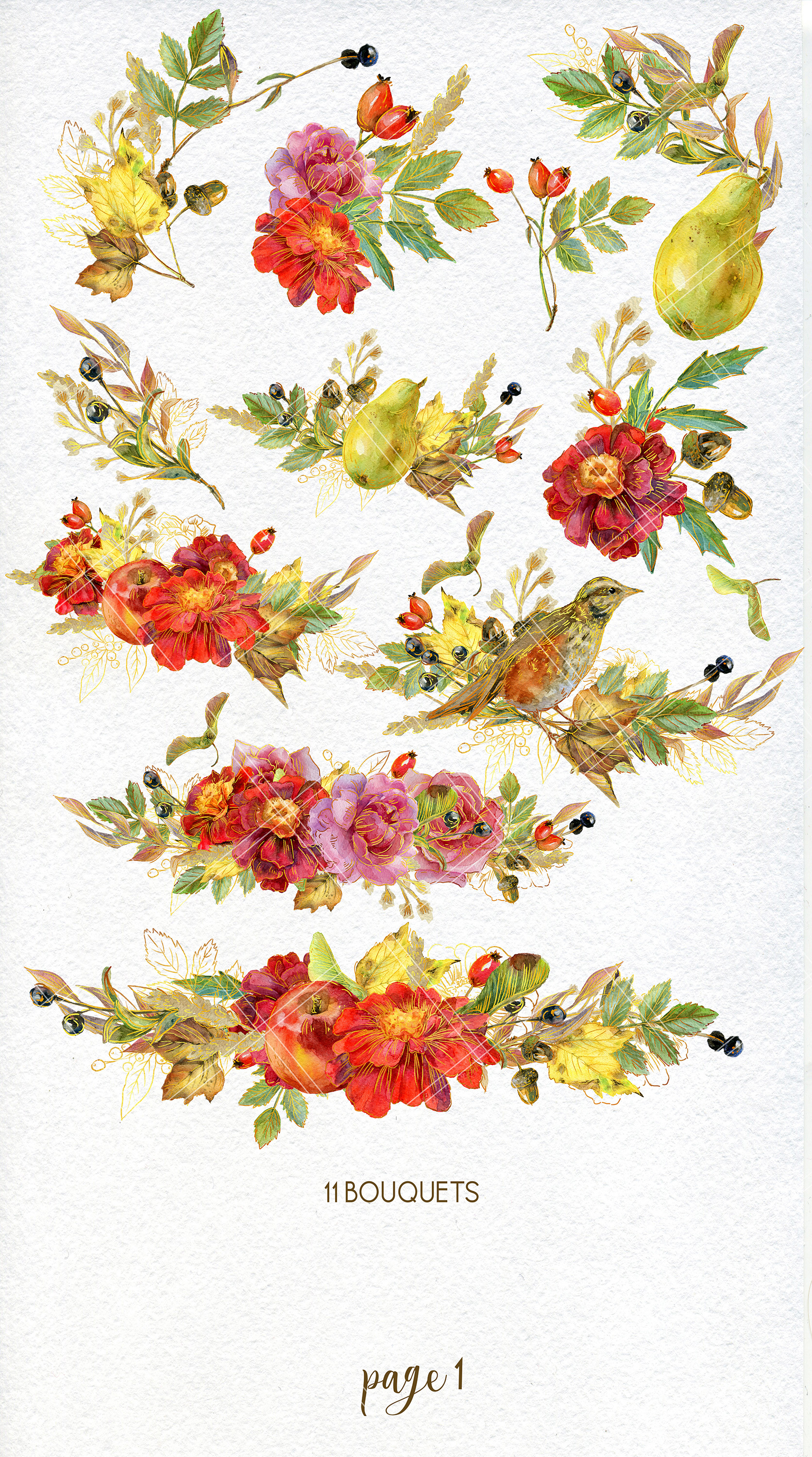Watercolor autumn bouquets and wreaths example image 2